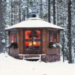 Гриль-домик зимой