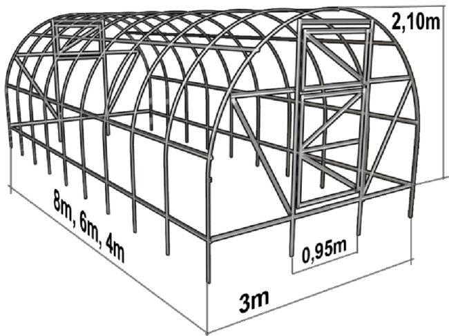 Стандартные размеры теплицы из труб