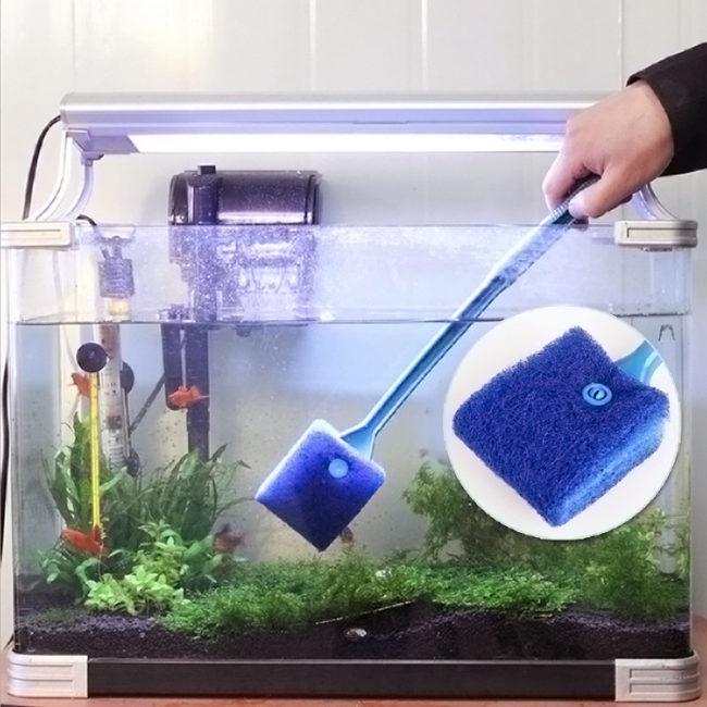 Губкой чистят аквариум